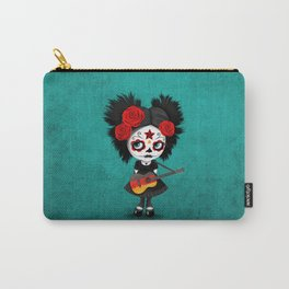 Day of the Dead Girl Playing German Flag Guitar Carry-All Pouch