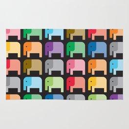 Elephants Pattern in black background Rug
