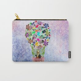 Teal Pink Vintage whimsical cat floral Air balloon Carry-All Pouch