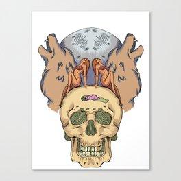 Girl, Wolf, Moon, Skull - Shirt Canvas Print