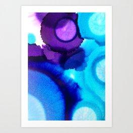 Purple, cobalt blue and teal alcohol ink art Art Print