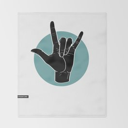 ILY - I Love You - Sign Language - Black on Green Blue 00 Decke