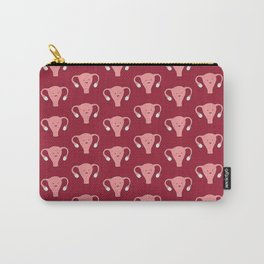 Patterned Happy Uterus in Red Carry-All Pouch
