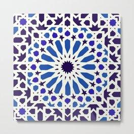 V19 Epic Light Blue Traditional Moroccan Pattern Design . Metal Print