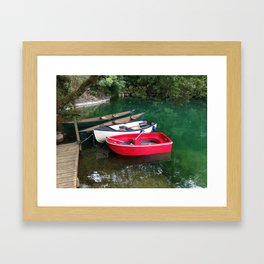 boats in a fishing lake Framed Art Print