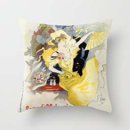 Paris masquerade ball 1896 by Chéret Throw Pillow