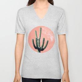 Pink Cactus Boho Mexican Unisex V-Neck