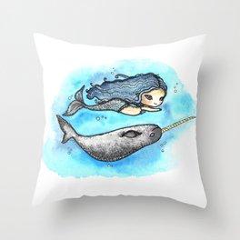 Unicorn of the Sea Throw Pillow