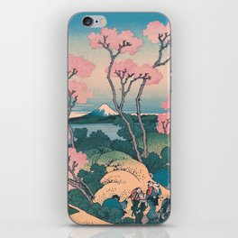 Spring Picnic under Cherry Tree Flowers, with Mount Fuji background iPhone Skin