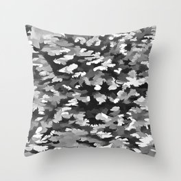 Foliage Abstract Pop Art In Monotone Black and White Throw Pillow