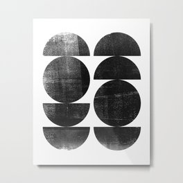 Black and White Mid Century Modern Circles Abstract Metal Print