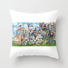 Ghibli Compilation Throw Pillow