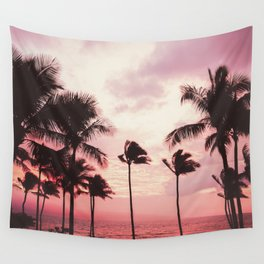 Tropical Palm Tree Pink Sunset Wall Tapestry