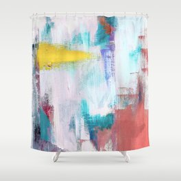Colfax: an interesting, vibrant, abstract mixed media piece in a variety of colors Shower Curtain