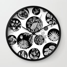 Flowers pattern ink art black and white Wall Clock