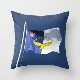 Flag of Azores islands Throw Pillow