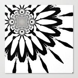 The Modern Flower White & Black Canvas Print