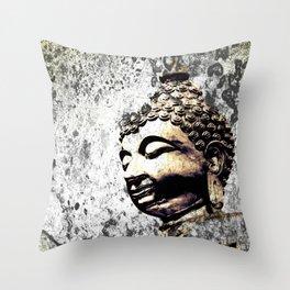 Grunge Buddha Throw Pillow