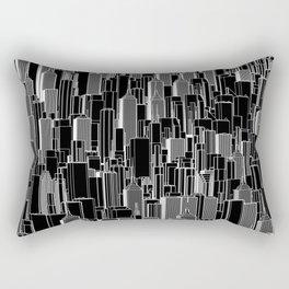 Tall city B&W inverted / Lineart city pattern Rectangular Pillow