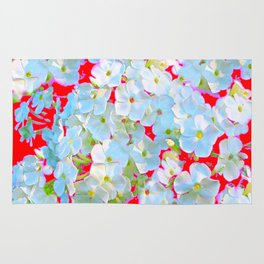 MODERN ART RED WHITE FLORAL GARDEN Rug