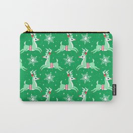 Mint Reindeer Carry-All Pouch
