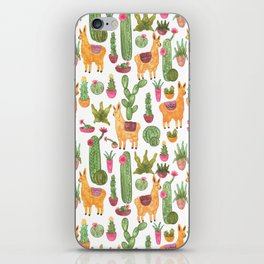 watercolor alpaca clique with cacti and succulents iPhone Skin