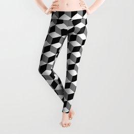 Cube Pattern Black White Grey Leggings