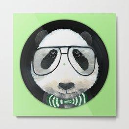 Fancy Panda on Vinyl Metal Print
