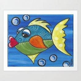 Kissing Fish Art Print