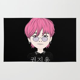 G-Dragon Cartoon Black Rug