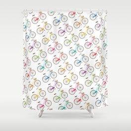 Rainbow Bicycles Shower Curtain