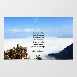 Happiness Is The Key To Success Uplifting Inspirational Quote With Blue Sky Filled With Clouds Rug