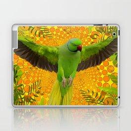 MAGNIFICENT GREEN PARROT GOLD JUNGLE MODERN ART Laptop & iPad Skin