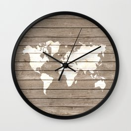 Wooden world map Wall Clock
