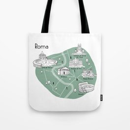 Mapping Roma - Green Tote Bag