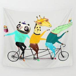Animals biking. bike art, bike decor, bikes. Wall Tapestry
