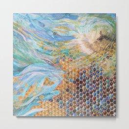 Honeycomb and Waves Metal Print