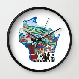 Wisconsin Country Sampler Wall Clock