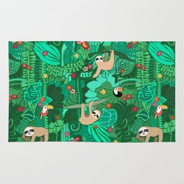 Sloths in the Emerald Jungle Pattern Rug