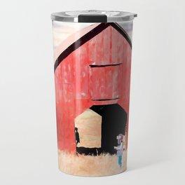 Boy and a Barn #digitalpainting Travel Mug