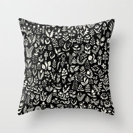 Black and white botanical pattern Throw Pillow