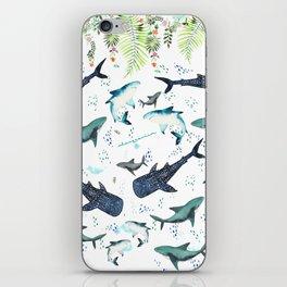 floral shark pattern iPhone Skin