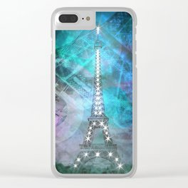 Illuminated Pop Art Eiffel Tower | Graphic Style Clear iPhone Case