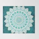 White Mandala on Blue Green Distressed Background with Detail and Textured by aej_design