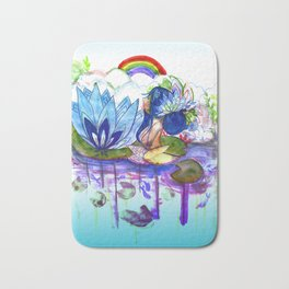 The blue lily water Bath Mat