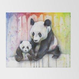 Rainbow Pandas Watercolor Mom and Baby Panda Nursery Art Throw Blanket