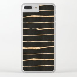 Black and rose-gold abstract stripes Clear iPhone Case