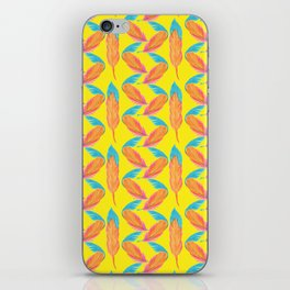 Tropical Yellow Feather Repeat Surface Pattern Design iPhone Skin