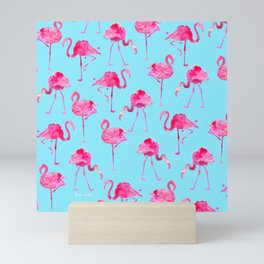 floridian Ffamingos - blue Mini Art Print