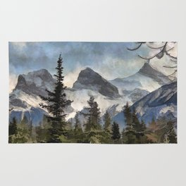 The Three Sisters - Canadian Rocky Mountains Rug